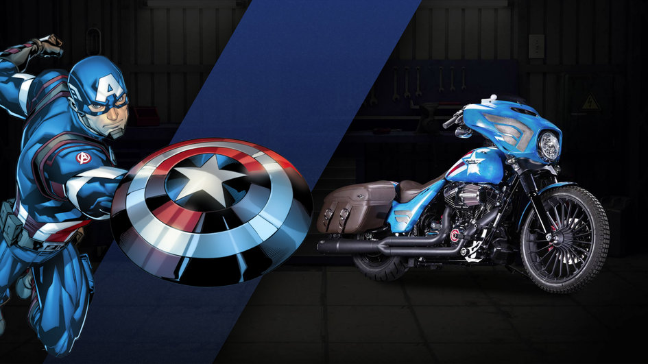 harley davidson marvel motos superh ros moto captain america. Black Bedroom Furniture Sets. Home Design Ideas
