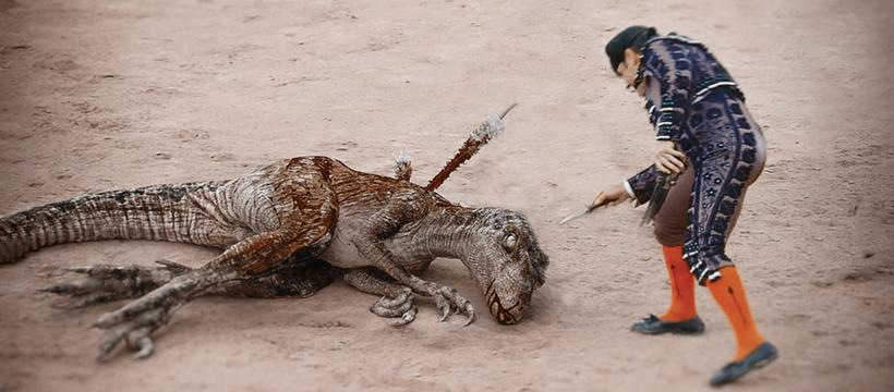 dinosaure à terre corrida sang