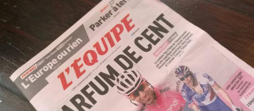 couverture journal l'équipe rose
