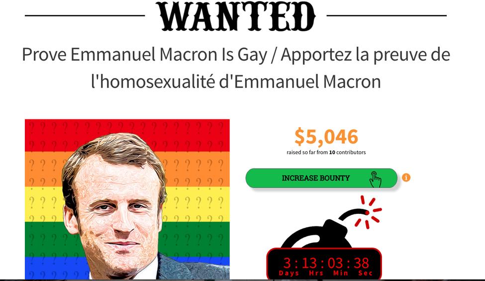 Prime de 5000 euros pour prouver que Macron est gay