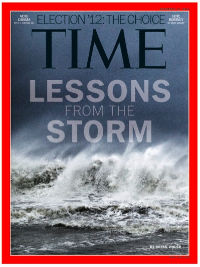 Couverture du Time magazine de l'ouragan Sandy