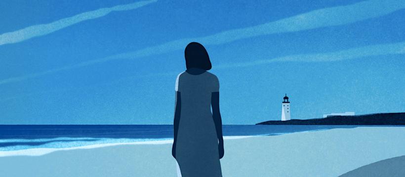 femme dessinée sur la plage