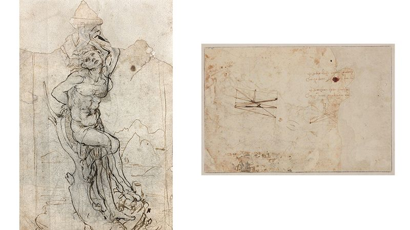 dessin de leonard vinci saint sébastien recto verso