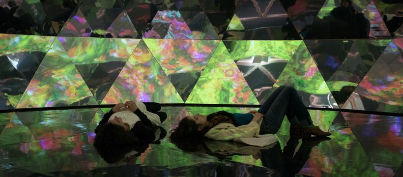 deux femmes face à l'art numérique