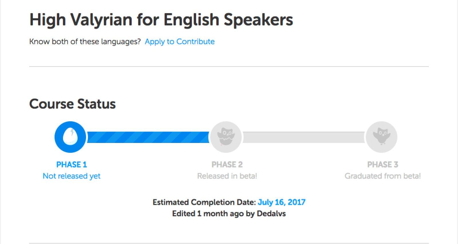 Duolingo Haut Valyrien
