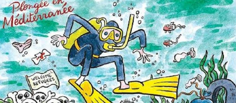 Carte postale Charlie Hebdo plongeur