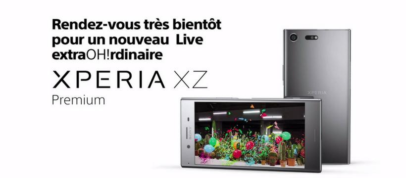 affiche xperia ZX Premium qui annonce le facebook live super slow motion