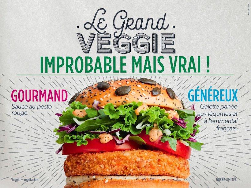 affiche publicitaire de McDonald's pour le Grand Veggie