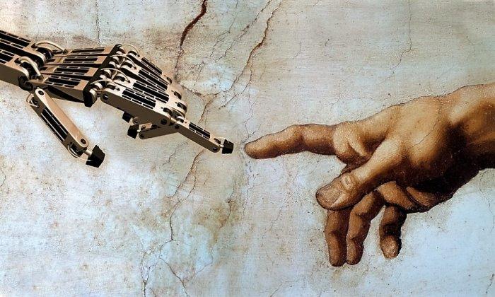 main de dieu et main de robot
