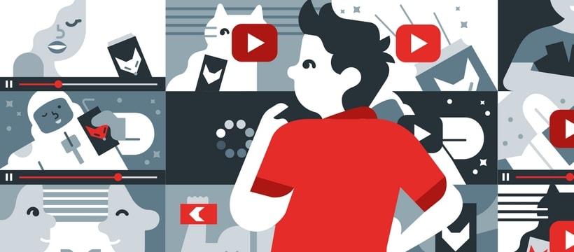 un homme devant une galerie de vidéos youtube