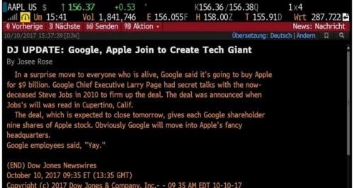 une erreur technique de Dow Jones annonce le rachat d'Apple par Google