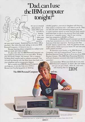 Une publicité IBM des années 80 montrant un jeune garçon demandant à son père d'utiliser son ordinateur