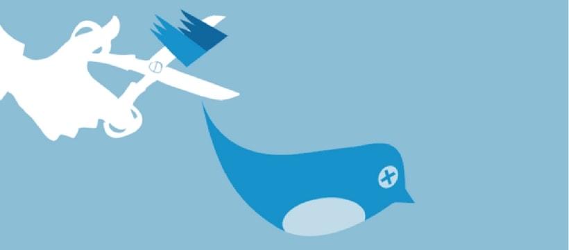 Illustration de l'oiseau de Twitter à qui l'on coupe les ailes
