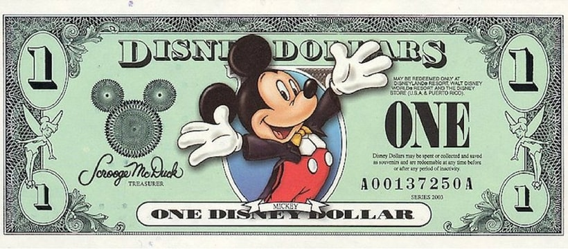 billet d'argent disney mickey