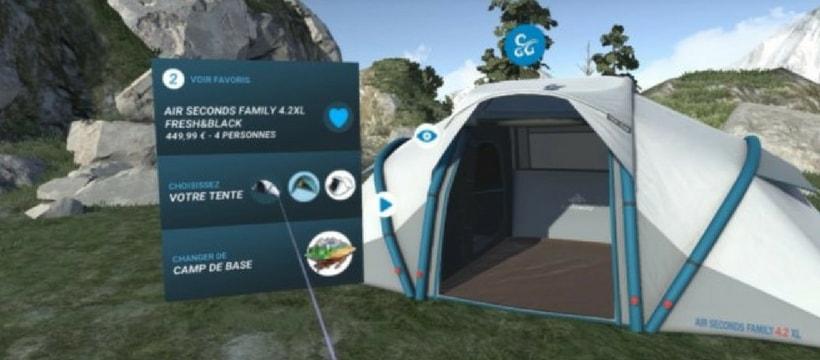 tente quechua chez decathlon en realite virtuelle