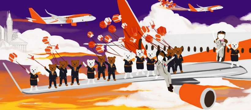 Illustration easyJet et le Printemps Haussmann