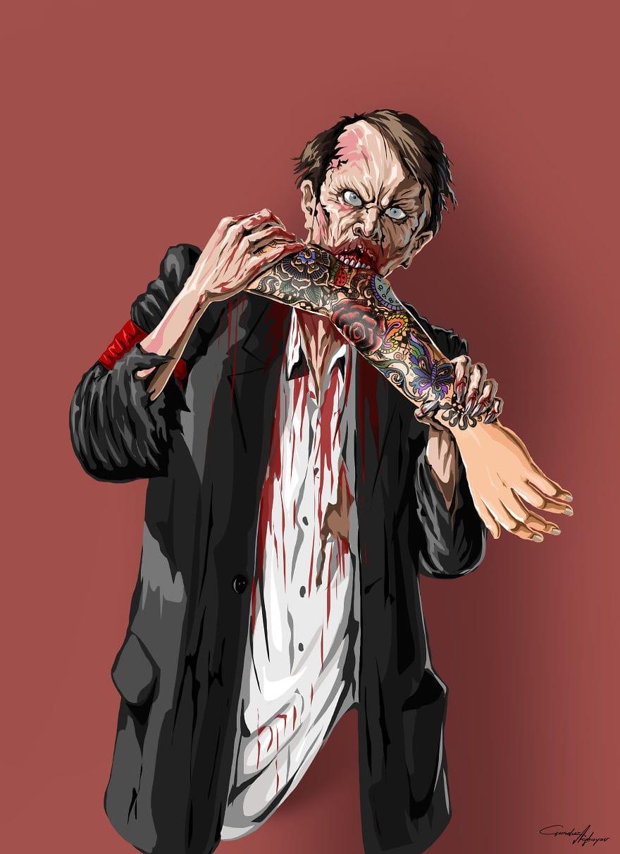 un zombie mange un bras