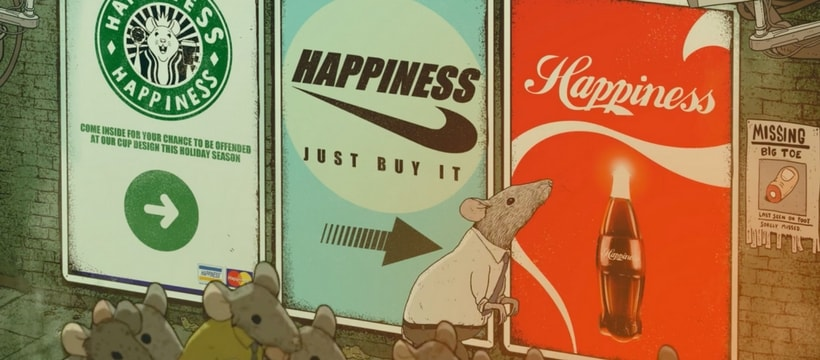 rat qui renifle des affiches de marques