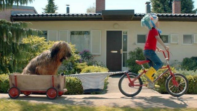 Extrait d'une publicité Petit Bateau, dans laquelle un petit garçon tire son chien depuis son vélo à l'aide de sa marinière