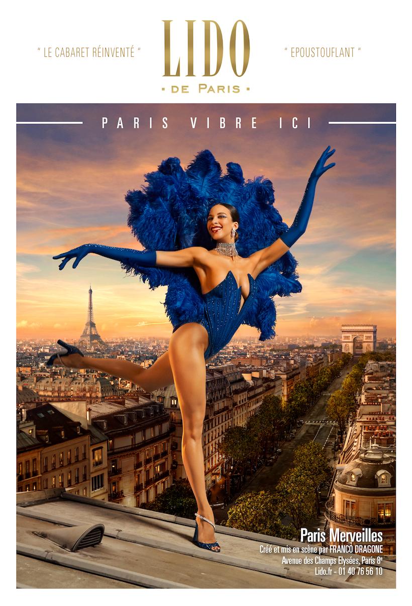 La campagne de publicité du Lido Paris montre une danseuse sur les toits