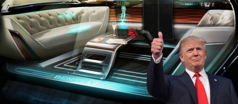 Un meme de Trump sur une voiture autonome