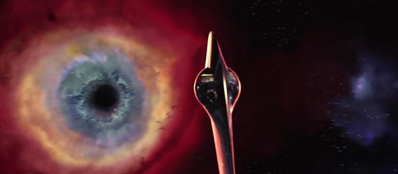 vaisseau qui navigue vers un trou noir