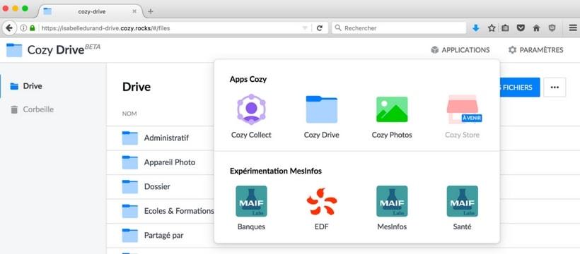 L'interface de Cozy cloud