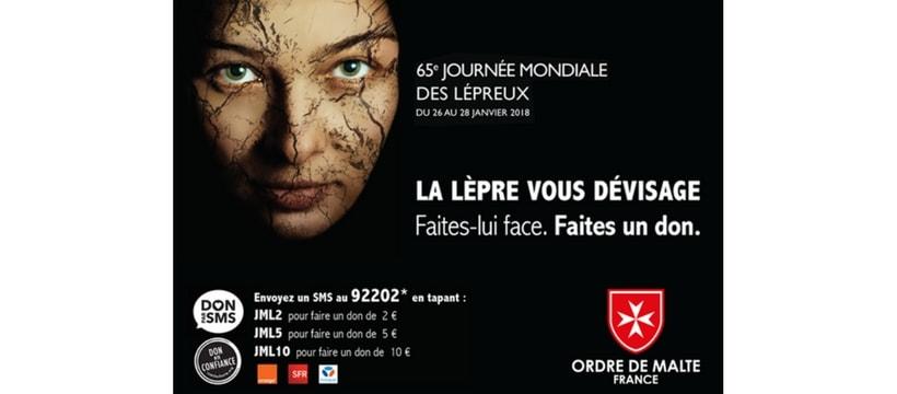 affiche de campagne de don contre la lepre
