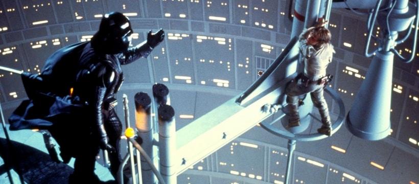 Scène de Star Wars épisode 6, entre Luke Skywalker et Dark Vador