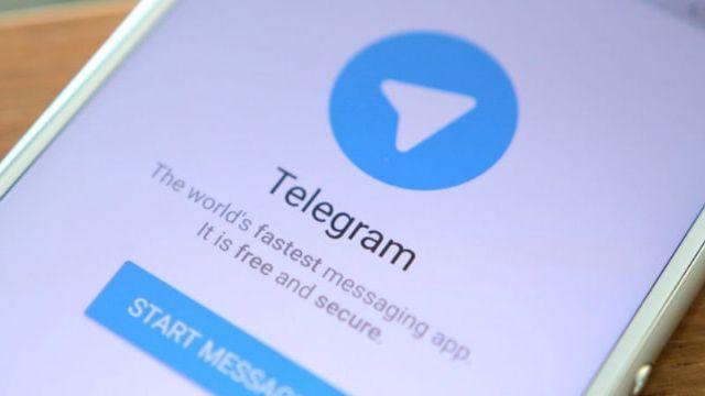 Ecran de téléphone portable avec l'application Telegram
