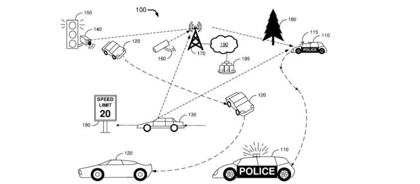 le dessin d'un brevet de voiture de police sans chauffeur