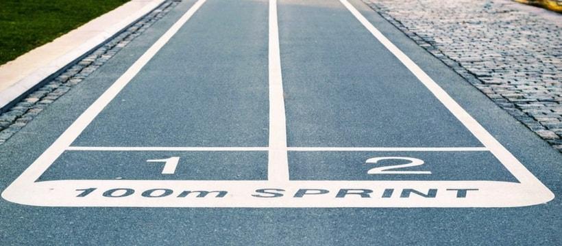 le depart d'une course de sprint