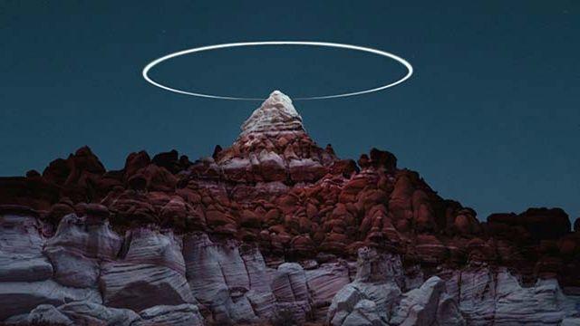 photo auréole de lumière drone art