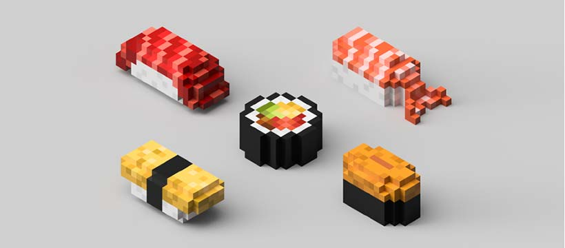 sushis pixélisés imprimés en 3D