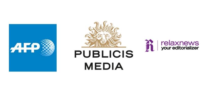 logo afp, publicis media et relaxnews