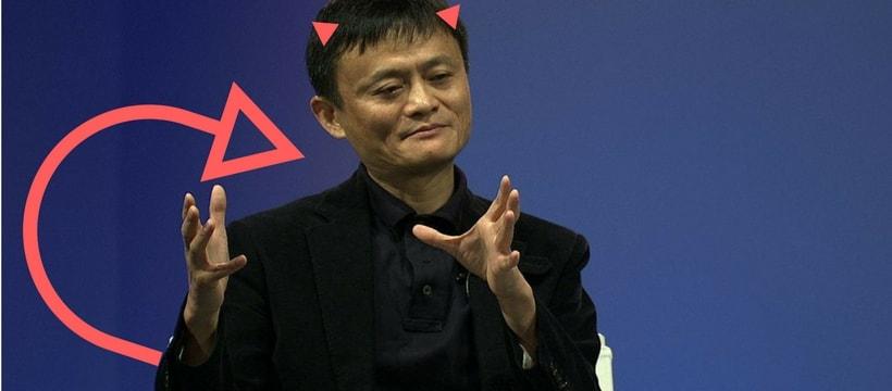 Jack Ma, patron d'Alibaba, avec des cornes et une queue de diable