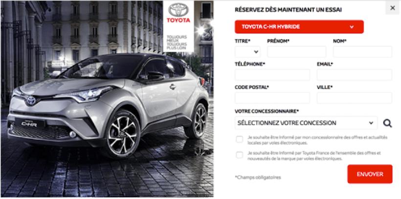 Une pop-in sur le site de Toyota