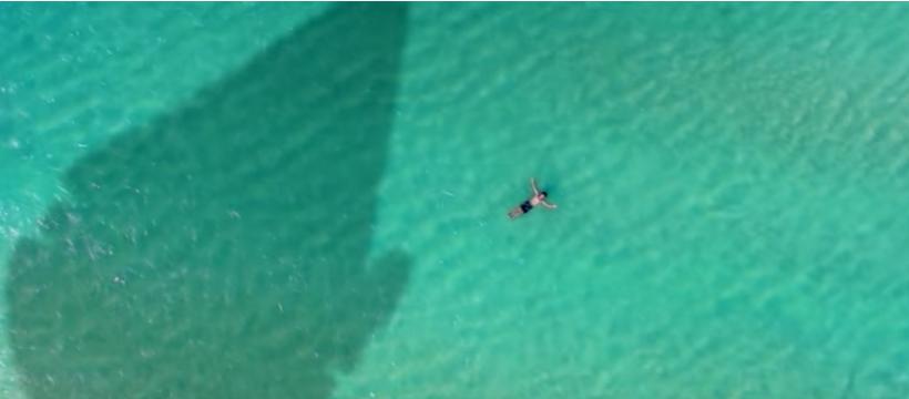 vue aérienne d'un homme dans la mer