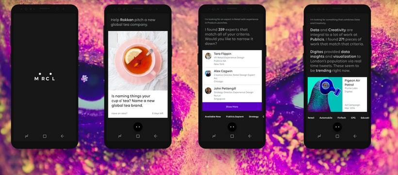 Des captures d'écran de l'application Marcel, l'intelligence artificielle de Publicis