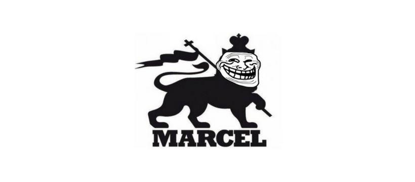Le logo de l'agence Marcel avec une tête de troll