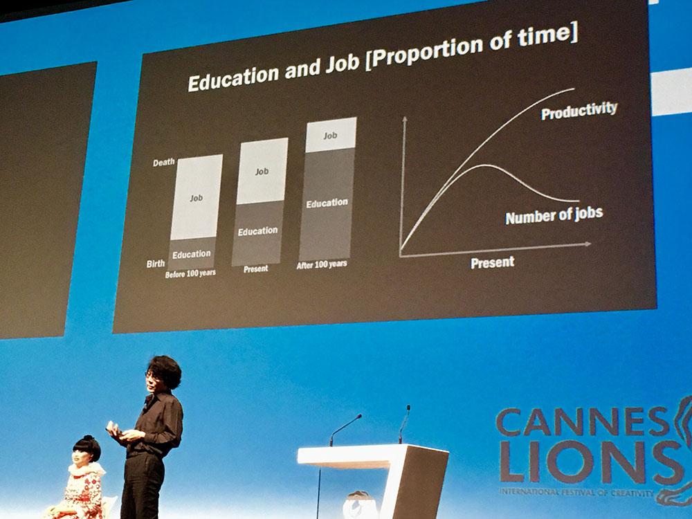 graphique de Hiroshi Ishiguro aux Cannes Lions 2018