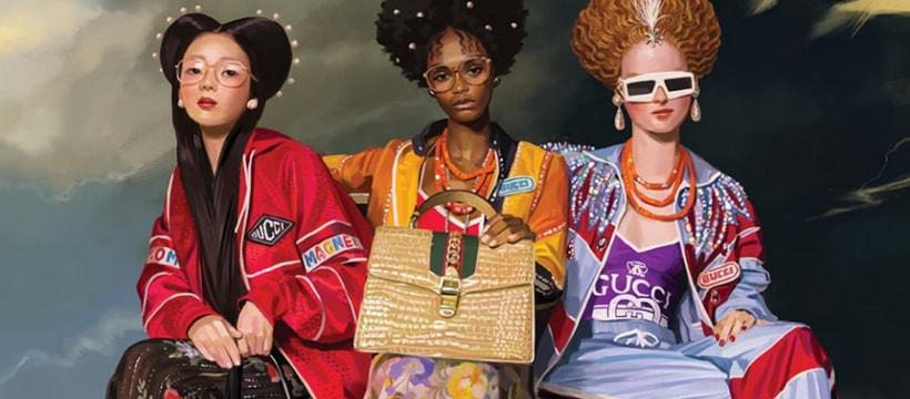 Trois femmes posant pour Gucci