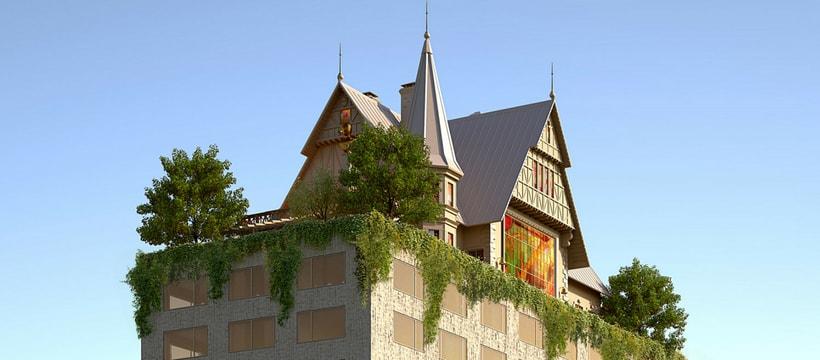 une maison sur le toit d'un hôtel
