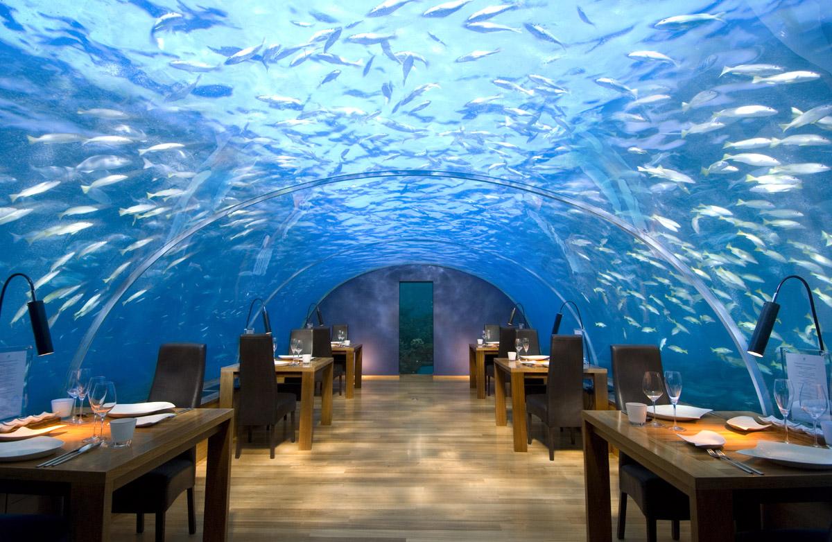 Le restaurant Ithaa aux Maldives