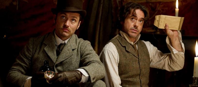 Jude Law et Robert Downey Junior dans le film Sherlock Holmes