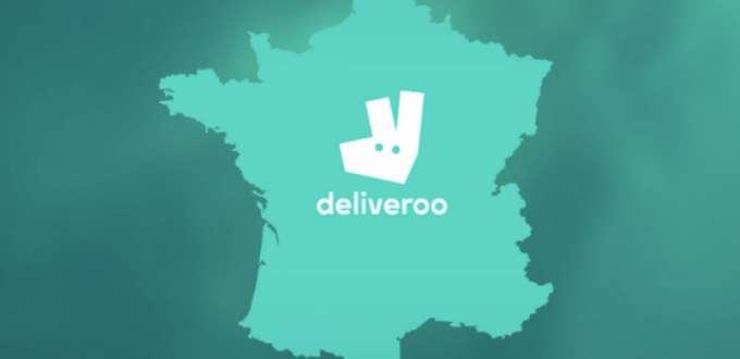 Carte de la France avec le logo Deliveroo