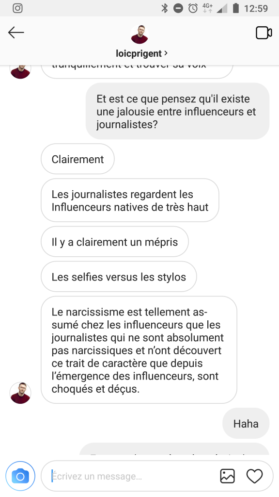 Photo de conversation avec Loïc Prigent