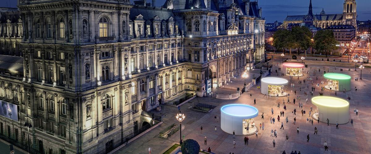Concept de Tier-lieu transformables devant le parvis de l'Hotel de Ville de Paris.