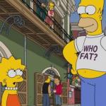 Homer Simpson et sa fille Lisa dans la rue.