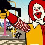 Extrait du film Logorama, où Ronald McDonald brandit une arme